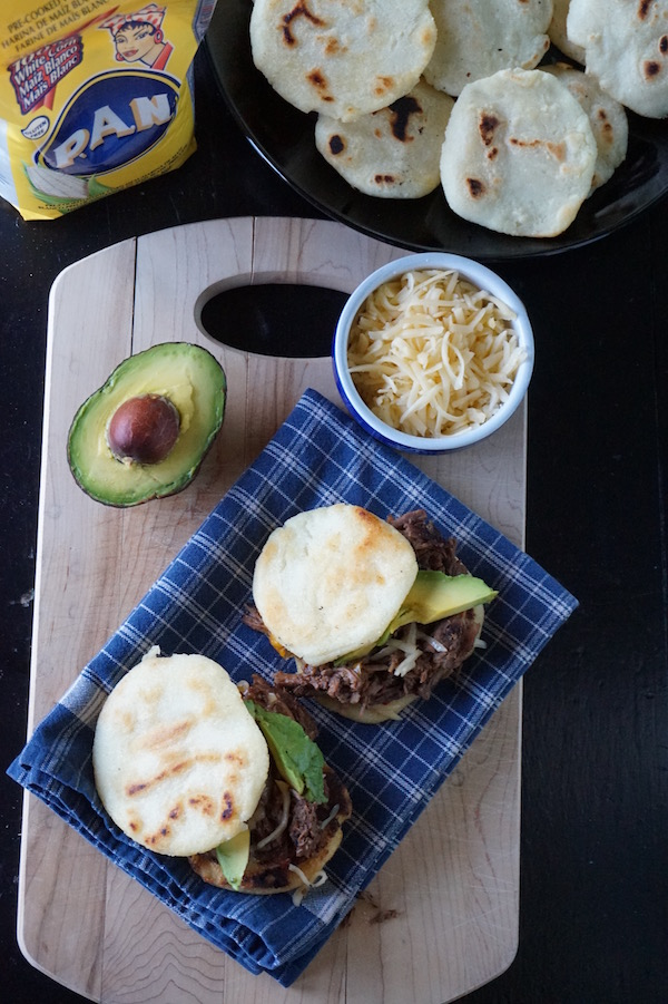shredded beef arepas